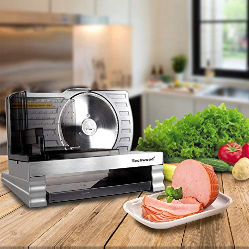 Techwood Electric Food Slicer, Precision Meat Slicer, Deli Slicer with Adjustable Thickness Dial, Removable Serrated Stainless Steel Blade, Meat, Bread, Cheese, Vegetable & Fruit, Sliver by Techwood (Image #4)
