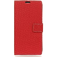 Case for Alcatel A3 [PU Leather], BasicStock Woven Stand Function Magnetic Closure Wallet Case with Money and Card Slots Flip Cover Screen Protector for Alcatel A3 (Red)
