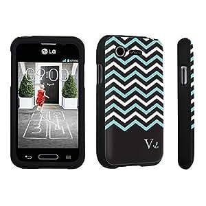 linJUN FENGDuroCase ? LG L34C Optimus Fuel / LG Optimus Zone 2 VS415PP Hard Case Black - (Black Mint White Chevron V)