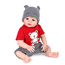 AMPretty Lifelike Reborn Baby Dolls Soft Silicone Full Body 22inch Real Girl/Boy Baby Dolls Lovely Christmas Gift For Ages 3+ (Jack)