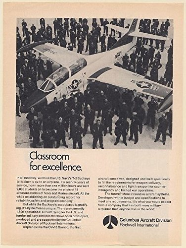 1973 Rockwell Columbus US Navy T-2 Buckeye Jet Trainer Aircraft Classroom Print Ad (Memorabilia) (63514)