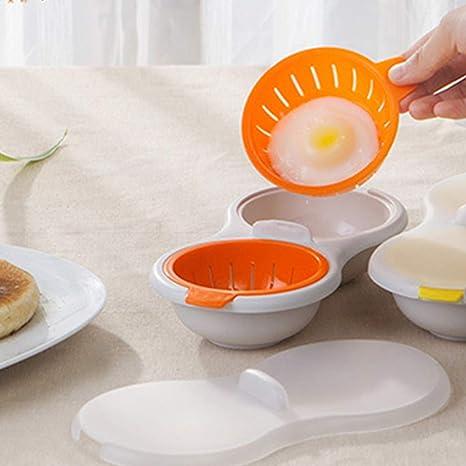 Calderas de huevo para microondas, doble calentador de huevos al ...