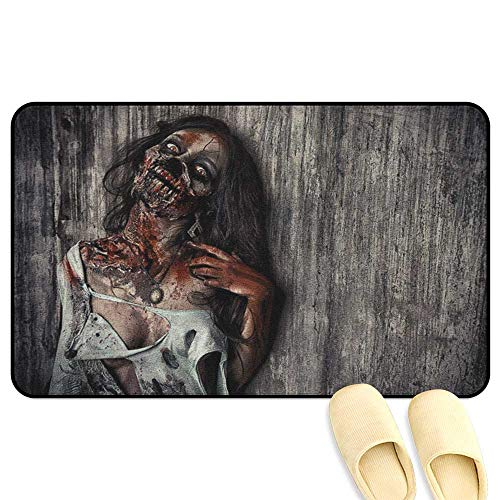 homecoco Zombie Entrance Mat Angry Dead Woman Sacrifice Fantasy Design Mystic Night Halloween Image Dark Taupe Peach Red Indoor/Outdoor/Front Door/Bathroom Mats Rubber Non Slip W16 x L24 INCH]()
