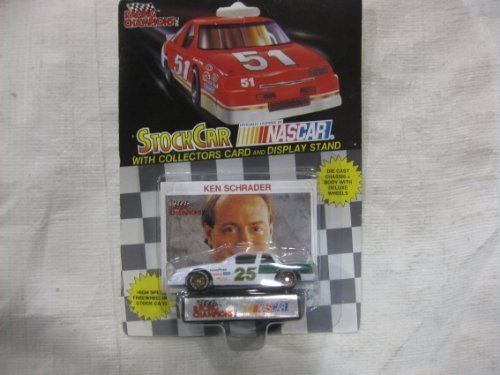 NASCAR #25 Ken Schrader Goodyear Racing Team Stock Car With Driver's Collectors Card And Display Stand. Racing Champions Black Background Red Series 51 Car