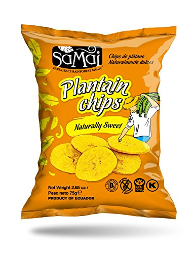 Samai Plantain Chips, Naturally Sweet, 2.65 Ounce (Pack of 15) - Packaging may vary