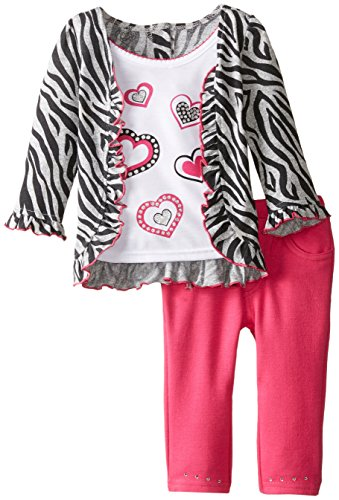 - Young Hearts Baby Girls' 2 Piece Zebra Print Heart Pant Set, Grey, 12 Months