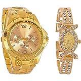 BLUTECH Analogue Gold Dial Men's and Women's Watch-M-Combo- Golden-Couple