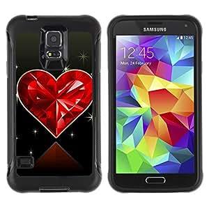 Pulsar Defender Series Tpu silicona Carcasa Funda Case para SAMSUNG Galaxy S5 V / i9600 / SM-G900F / SM-G900M / SM-G900A / SM-G900T / SM-G900W8 , Love Diamond Heart
