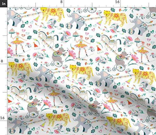 Circus Fabric - Circus Animals Tigers Elephant Floral Circus Lion Girl Floral Flowers Carnival Print on Fabric by The Yard - Minky for Sewing Baby Blankets Quilt Backing Plush Toys