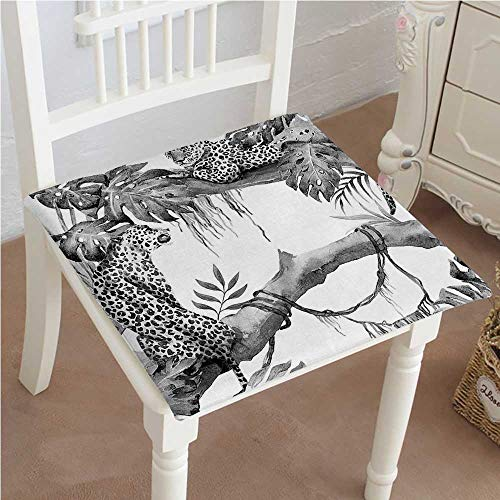 Mikihome Premium Comfort Seat Cushion Wild Leopards in Tropical Branches with Giant Leaves Safari Exotic Animal Artwork Grey Cushion for Office Chair Car Seat Cushion 32''x32''x2pcs by Mikihome