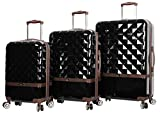 Nicole Miller New York Madison Collection Hardside 3-Piece Spinner Luggage Set: 28', 24', and 20' (Black)