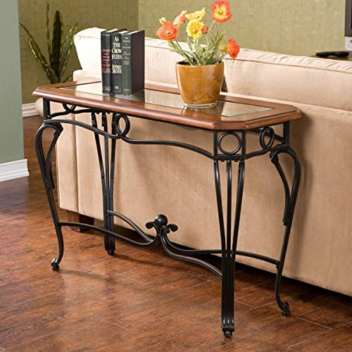 Wildon Home Prentice Console Table This Beautiful Antique Style Table Will Look Great In Any Room Guaranteed. This Decorative Glass Top Table Will Look Great In Your Foyer Or Entryway. This Versatile (Dark Cherry) (Front Door With Wrought Iron And Glass)