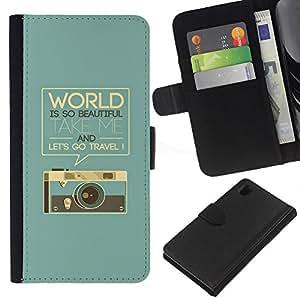 Sony Xperia Z1 L39 C6902 C6903 C6906 C6916 C6943 , la tarjeta de Crédito Slots PU Funda de cuero Monedero caso cubierta de piel ( Retro Graphics Photo Camera World Text)