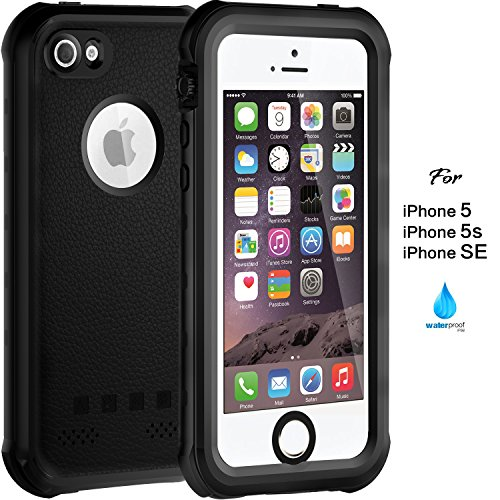 Waterproof Case for iPhone 5 5S SE, IP68 Case by ASAKUKI, Certified Phone Case with Full Body Protective Shockproof Scratch-Proof Dustproof Sensitive Screen Protector, Black