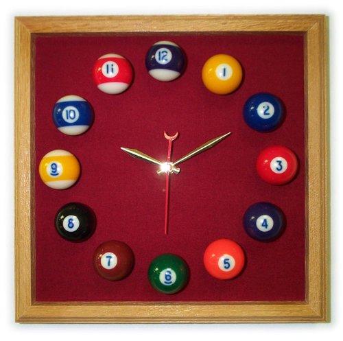12in Square Billiard Clock Oak Burgandy Mali - Square Clock Felt