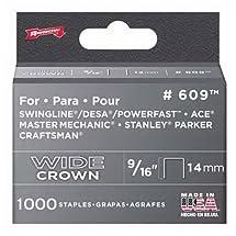 Arrow Fastener 609 Wide Crown Swingline Style Heavy Duty 9/16-Inch Staples, 1000-Pack