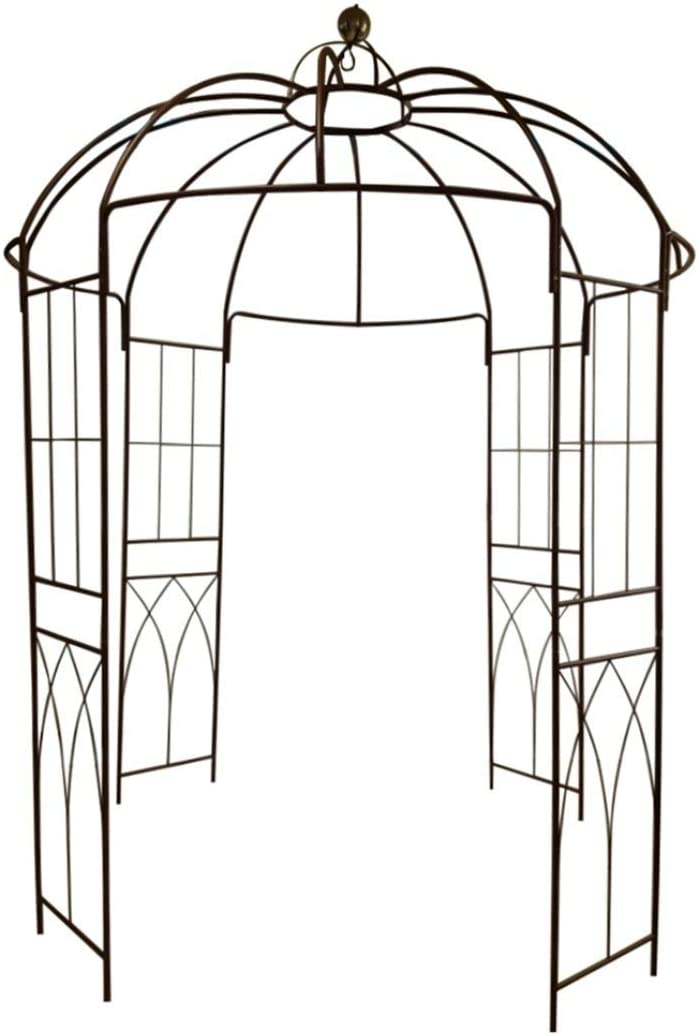 OUTOUR French Style Birdcage Shape Heavy Duty Gazebo,9 Highx 6 6 Wide,Pergola Pavilion Arch Arbor Arbour Plants Stand Rack for Wedding Outdoor Garden Lawn Backyard Patio,Climbing Vines,Roses,Dark Rust