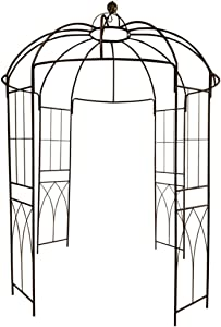 "OUTOUR French Style Birdcage Shape Heavy Duty Gazebo,9'Highx 6'6""Wide,Pergola Pavilion Arch Arbor Arbour Plants Stand Rack for Wedding Outdoor Garden Lawn Backyard Patio,Climbing Vines,Roses,Dark Rust"