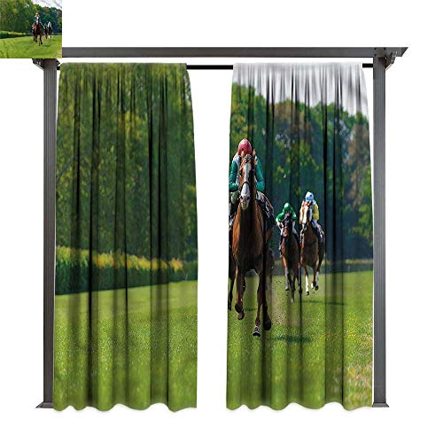 (cobeDecor Thermal Insulated Drapes Man Cave Several Racehorses Jockeys for Lawn & Garden, Water & Wind Proof W120)