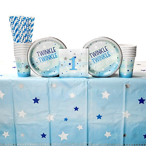 One Little Star Boy Party Supplies Pack for 16 Guests: Straws, Dessert Plates, Beverage Napkins, Cups, and Table ()