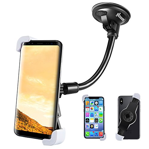 IPOW Car Phone Mount, Diagonal Clamp Full-View Windshield/Dashboard Car Phone Holder With Strong Suction Cup& Bendable Goose Arm For iPhone X 8Plus 7Plus 6sPlus 6Plus Galaxy S7 S9 J7V