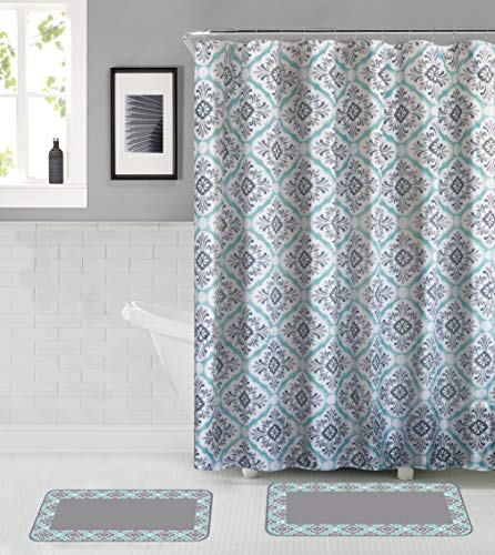All American Collection 15-Piece Bathroom Set with 2 Memory Foam Bath Mats with Matching Shower Curtain (Grey/Green)