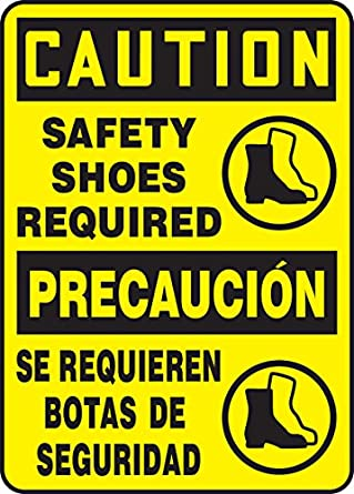 "Accuform SBMPPE763VA Aluminum Sign, Legend""CAUTION SAFETY SHOES REQUIRED/PRECAUCION SE REQUIEREN BOTAS"