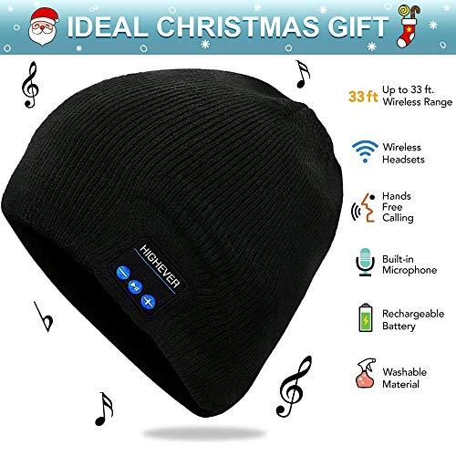 Bluetooth Beanie, Wireless Bluetooth Hat, Headphones Bluetooth Cap for Men (Black)