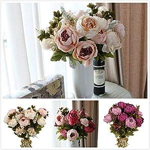 Alapaste Artificial Flowers,Fake Silk European Fall Peony Flowers Arrangements Wedding Bouquets Decorations Floral Table Centerpieces Decoration for Home Party Decor 4
