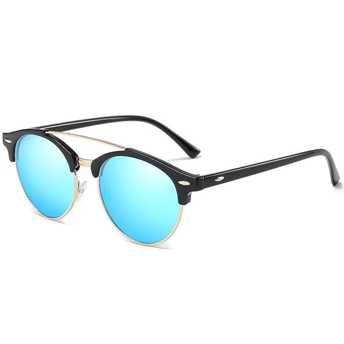 e7ac1fa22806 Retro Semi rimless Polarized Sunglasses for Mens Womens Double Bridge Shades  Glasses UV Protection (Blue