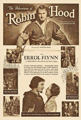 The Adventures of Robin Hood Poster E 27x40 Errol Flynn Olivia de Havilland Basil Rathbone