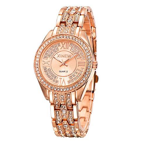 (Wright Powell Glass Mirror, Quartz Watch core Watches Women Full Steel Fashion Clock (Pink))