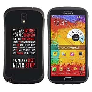 Fuerte Suave TPU GEL Caso Carcasa de Protección Funda para Samsung Note 3 N9000 N9002 N9005 / Business Style never stop motivational inspirational
