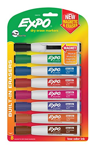 EXPO Magnetic Dry Erase Markers with Eraser, Chisel Tip, Assorted Colors, 8-Count