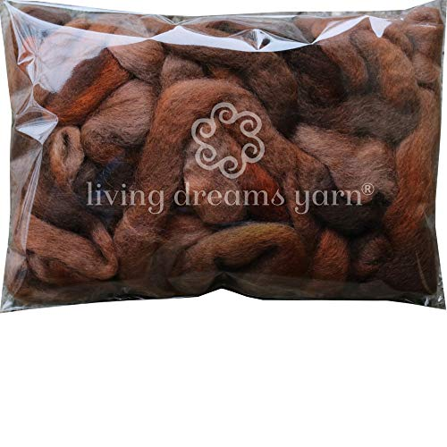 Wool Roving Hand Dyed. Super Soft BFL Combed Top Pre-Drafted for Easy Hand Spinning. Artisanal Craft Fiber ideal for Felting, Weaving, Wall Hangings and Embellishments. 1 Ounce. Brown Light