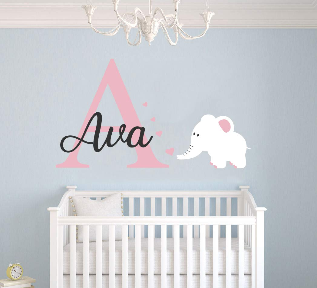 Personalized Name Elephant and Hearts - Animal Prime Series - Baby Girl - Wall Decal Nursery for Home Bedroom Children (Wide 36'' x 22'' Height)