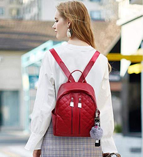 26x12x28cm B Color Shisky Suave De Fideos Mochila mujer Bolso Popular Pu Mujer Cuero Mujer Sólido Viento Para Colegio qgRaq