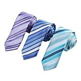 EAFF0015 Intaly Style Silk Striped Thin Ties Infinity For Party Men's 3pc Skinny Neckties Set By Epoint
