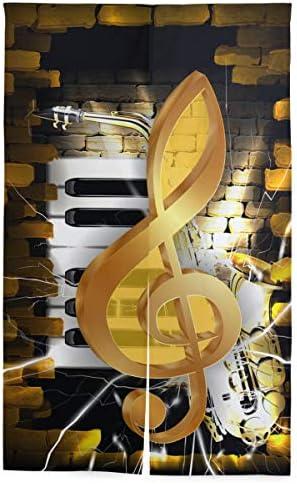 NIESIKKLA 間仕切りカーテン,レンガの壁とサックスのピアノのキーの背景に金色のト音記号,断熱幅86cm×丈143cm キッチン居間耐久性 風水パーティション夏 冬