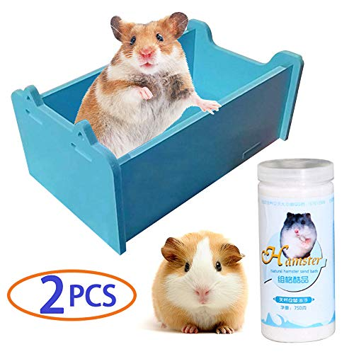 Chinchilla Dust Bath, Hamster Hideout, Dwarf Hamster Toys, Guinea Pig Potty, Gerbil House, Rat Litter Box, Mouse Sand Bath, Deodorize, Remove Greasy, Protect Hair, 2Pcs