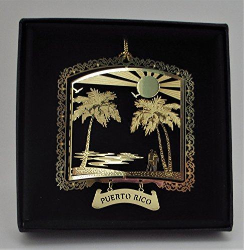 Puerto Rico Brass Ornament Black Leatherette Gift Box