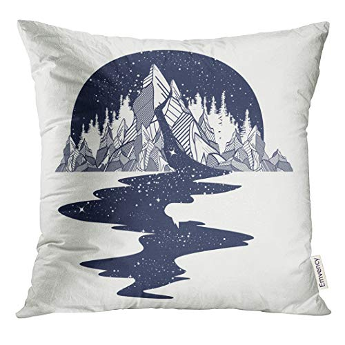 (VANMI Throw Pillow Cover River of Stars Flows from The Mountains Tattoo Infinite Space Meditation Symbols Travel Tourism Endless Decorative Pillow Case Home Decor Square 16x16 Inches Pillowcase )