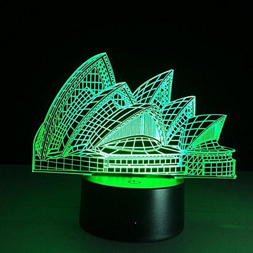 TTYY 3D Night Light Sydney Opera House LED Stereo Vision Lamp Colorful Acrylic Gift Lamp Touch /Remote Control Reading - Out Sydney Night