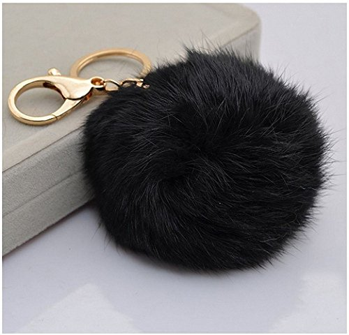 18 K Gold Plated Keychain with Plush Cute Genuine Rabbit Fur Key Chain for Car Key Ring or Bags (black)