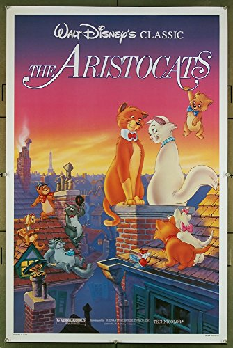 The Aristocats (1970) Original Walt Disney Company one-sheet poster 27x41 Re-release of 1978 Animated film directed by WOLFGANG REITHERMAN