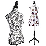 Kseven New Premium Female Women Mannequin Torso Body Dress Dressmaker Form Fashion Display W/ Wooden Tripod Stand, Perfect for Any Boutique Shop, Clothing Retail Store (Black & White Damask pattern)