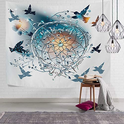 WIHVE Tapestry Hummingbirds Dreamcatcher Dandelion Flowers Boho Wall Tapestry Wall Hanging Tapestry Large Tapestry for Room 90 x 60 Inch