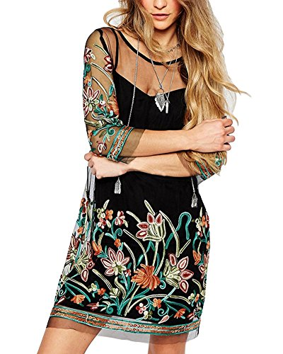 Romacci Women Sheer Mesh Dress Floral Embroidery Bohemian Short Dress Spaghetti Strap Summer Mini T-Shirt Dress Black