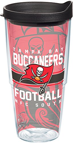(Tervis 1181962 NFL Tampa Bay Buccaneers Gridiron Tumbler with Wrap and Black Lid 24oz,)