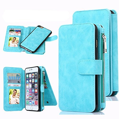 iPhone 6S Case, iPhone 6 Case, CaseUp 12 Card Slot - [Zipper Cash Storage] Premium PU Leather Wallet Case Cover With Detachable Magnetic Case For iPhone 6S/6 (4.7 Inch) - Turquoise Blue (Premium Leather Case Cover)